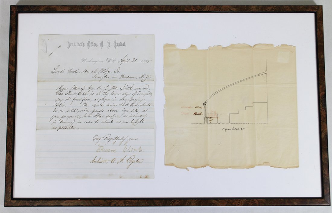 1885 U.S. CAPITOL ARCHITECT LETTER & DRAWING