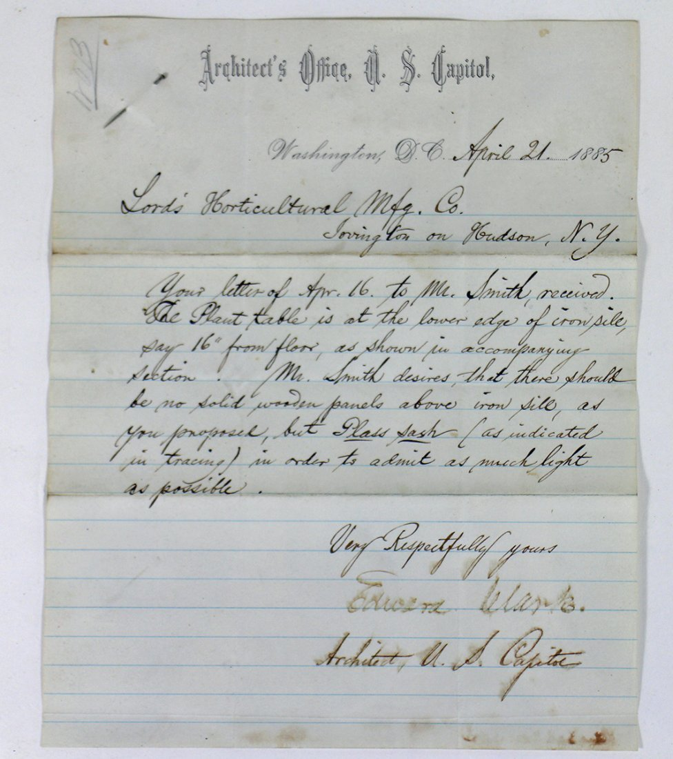 1885 U.S. CAPITOL ARCHITECT LETTER & DRAWING - 2