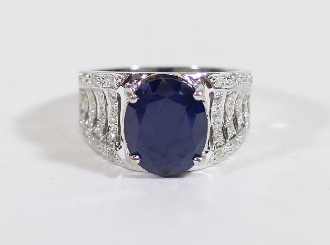14K BLUE SAPPHIRE & DIAMOND RING