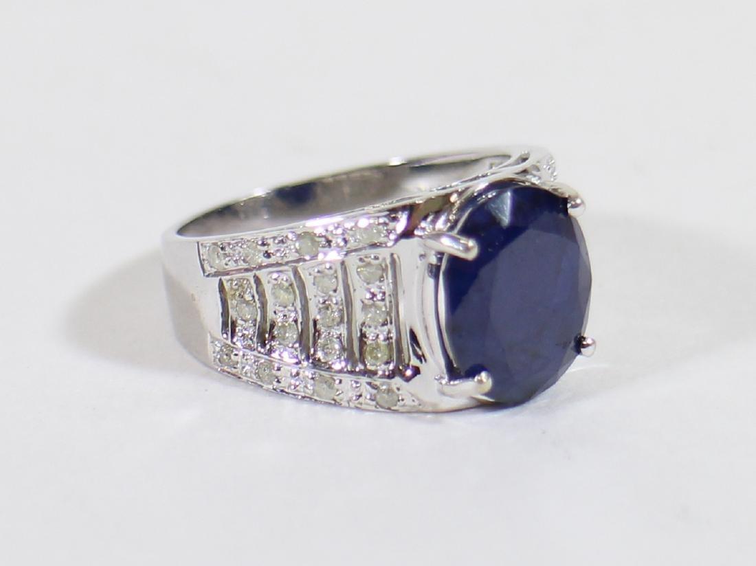 14K BLUE SAPPHIRE & DIAMOND RING - 2