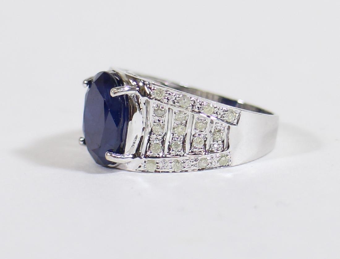 14K BLUE SAPPHIRE & DIAMOND RING - 3