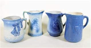 (4) BLUE SALT GLAZED STONEWARE PITCHERS