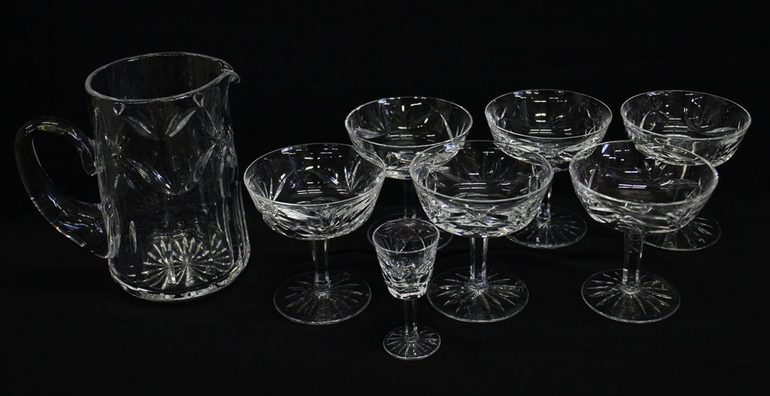 WATERFORD CRYSTAL ASHLING PITCHER & GLASSES