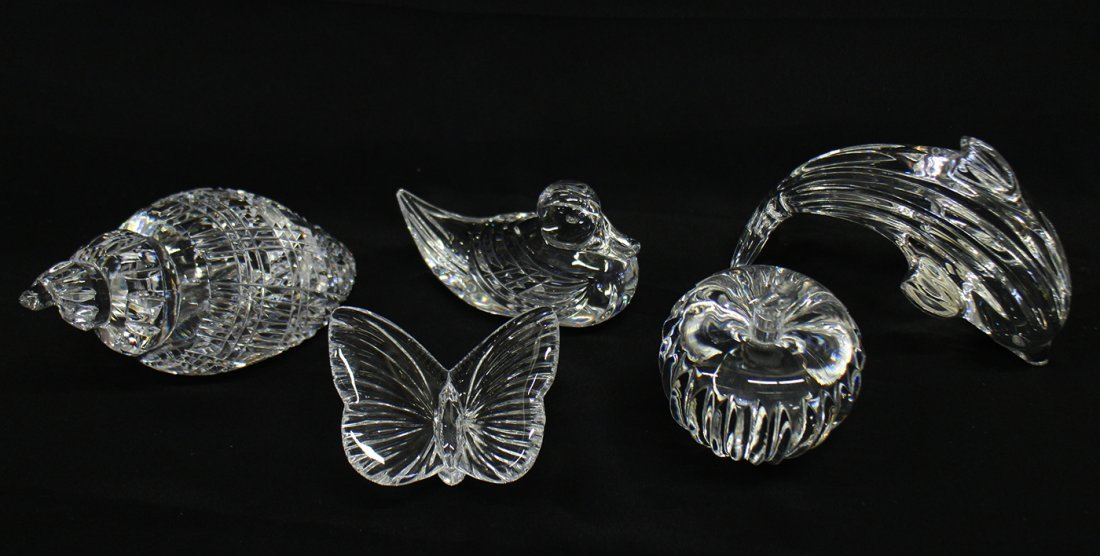 (5) WATERFORD CRYSTAL FIGURINES & PAPERWEIGHTS