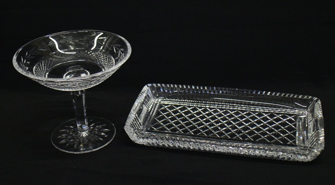 WATERFORD CRYSTAL COMPOTE & TRAY - 2