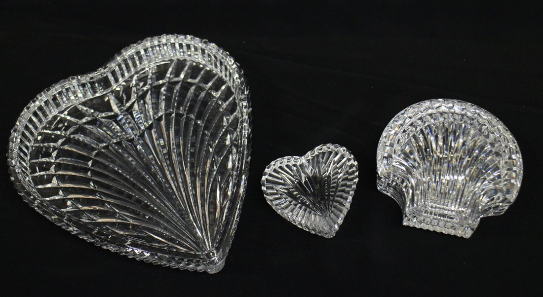 WATERFORD CRYSTAL HEARTS & SHELL BOX