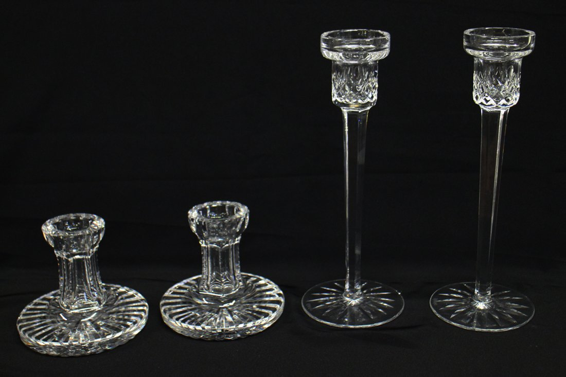(4) WATERFORD CRYSTAL CANDLE HOLDERS