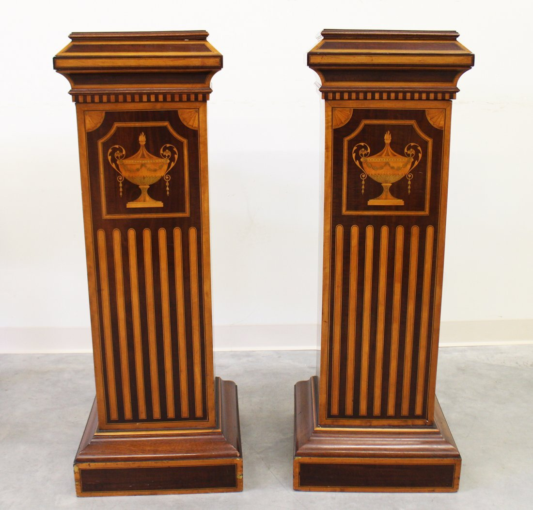 (2) 19TH CENTURY ENGLISH INLAID MARQUETRY PEDESTALS