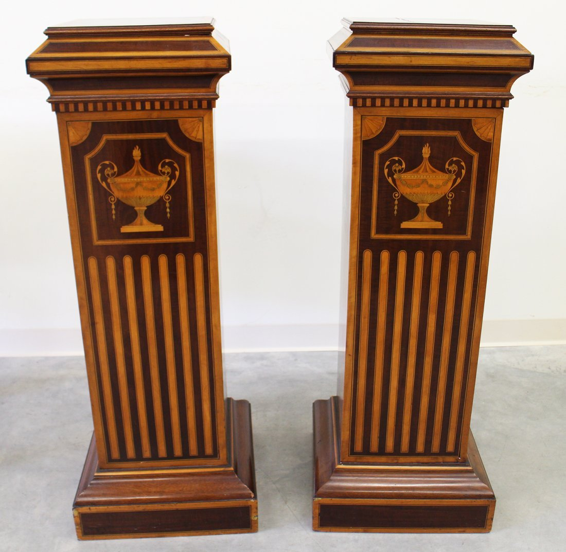 (2) 19TH CENTURY ENGLISH INLAID MARQUETRY PEDESTALS - 2