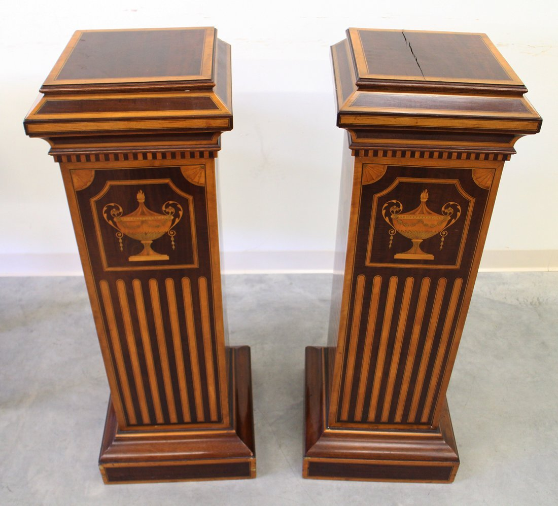 (2) 19TH CENTURY ENGLISH INLAID MARQUETRY PEDESTALS - 3