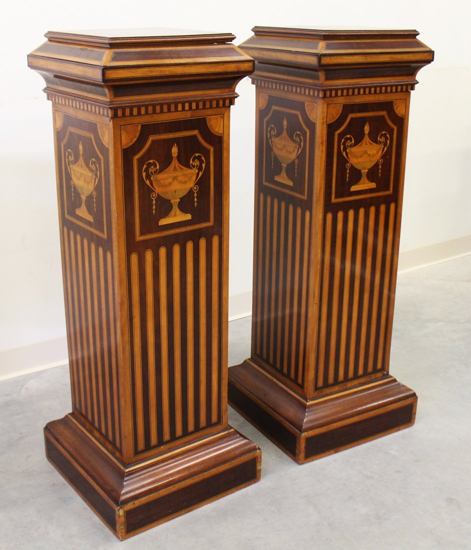 (2) 19TH CENTURY ENGLISH INLAID MARQUETRY PEDESTALS - 4