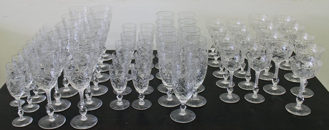 70 PIECES OF ANTIQUE ETCHED CRYSTAL STEMWARE
