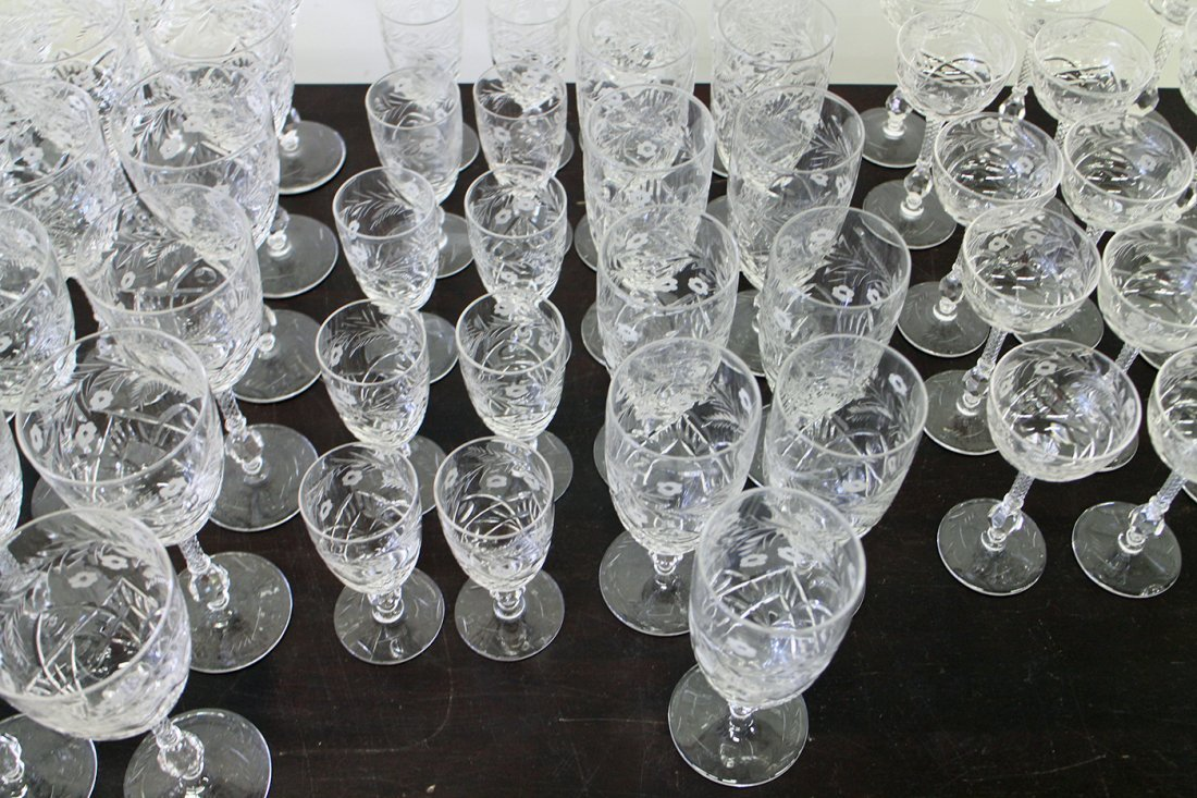 70 PIECES OF ANTIQUE ETCHED CRYSTAL STEMWARE - 2