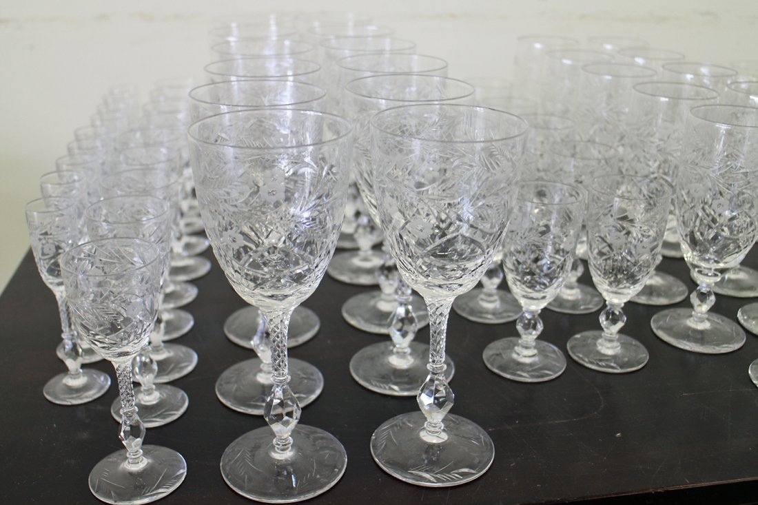 70 PIECES OF ANTIQUE ETCHED CRYSTAL STEMWARE - 3
