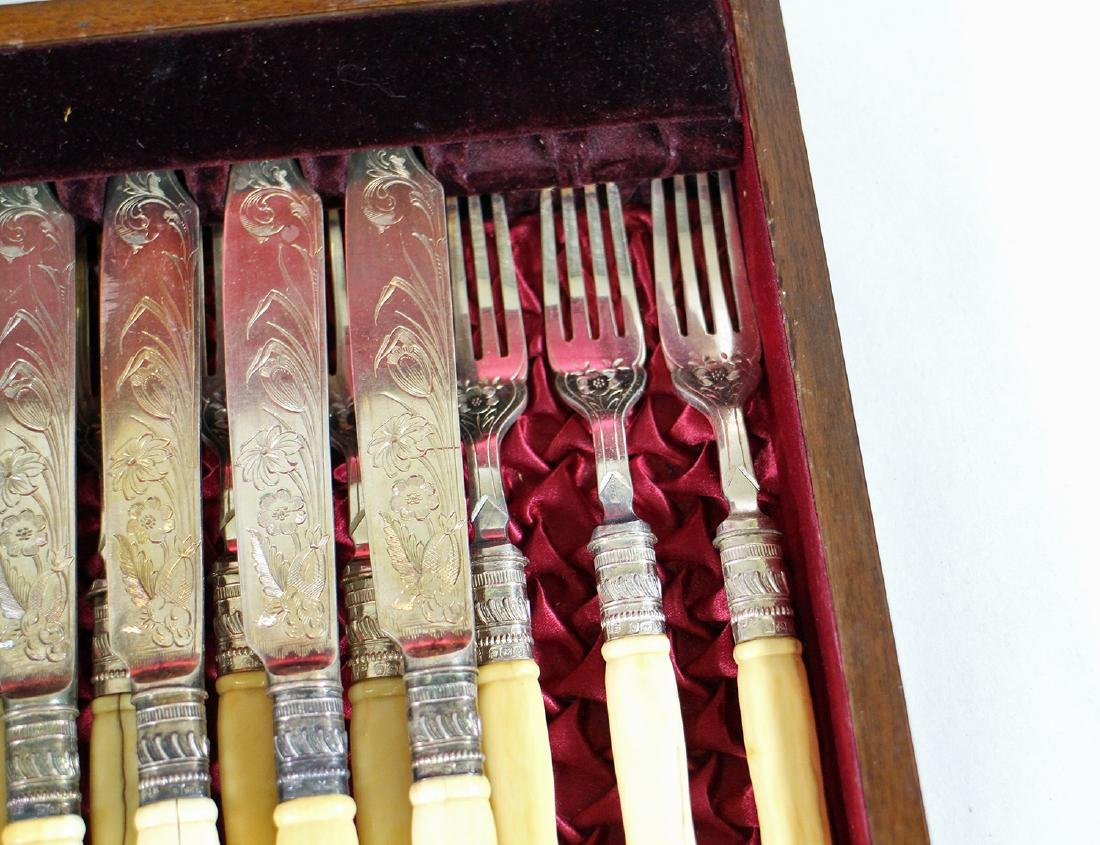 VICTORIAN SHEFFIELD PLATE FISH SERVING SET - 5