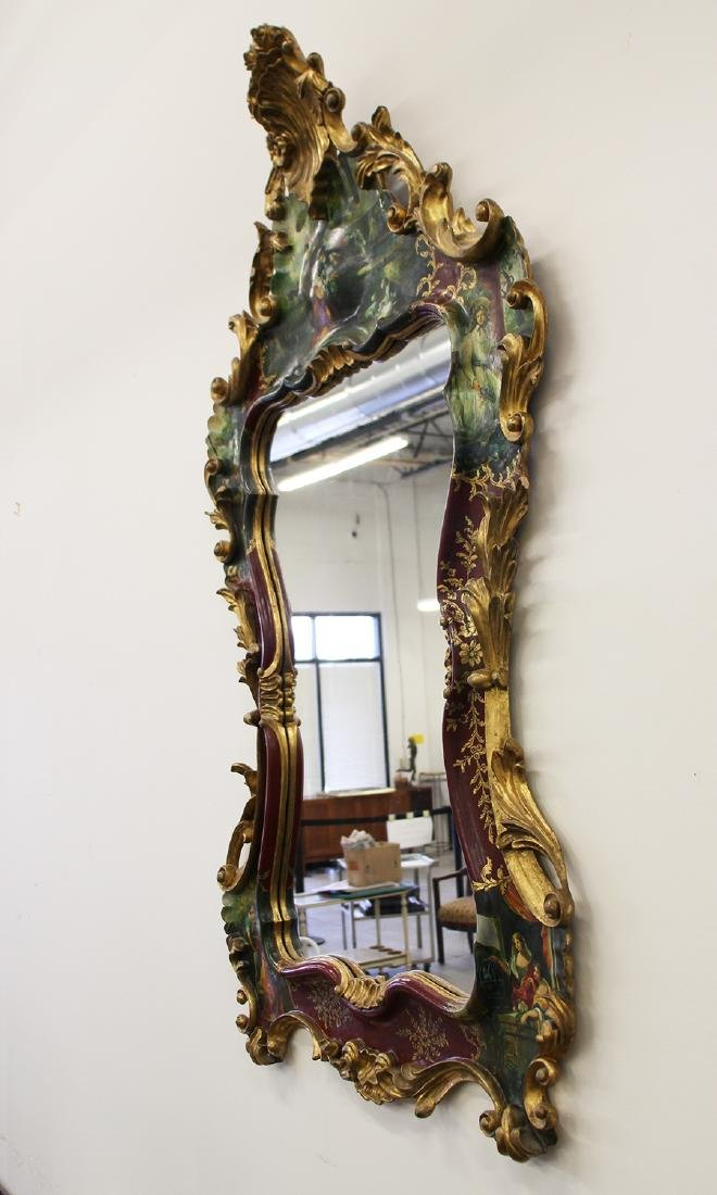 HAND PAINTED ROCOCO STYLE MIRROR - 4