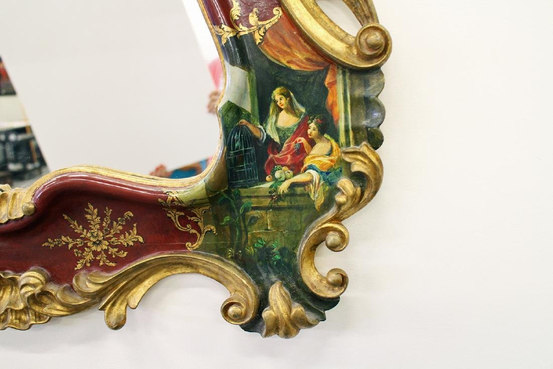 HAND PAINTED ROCOCO STYLE MIRROR - 5