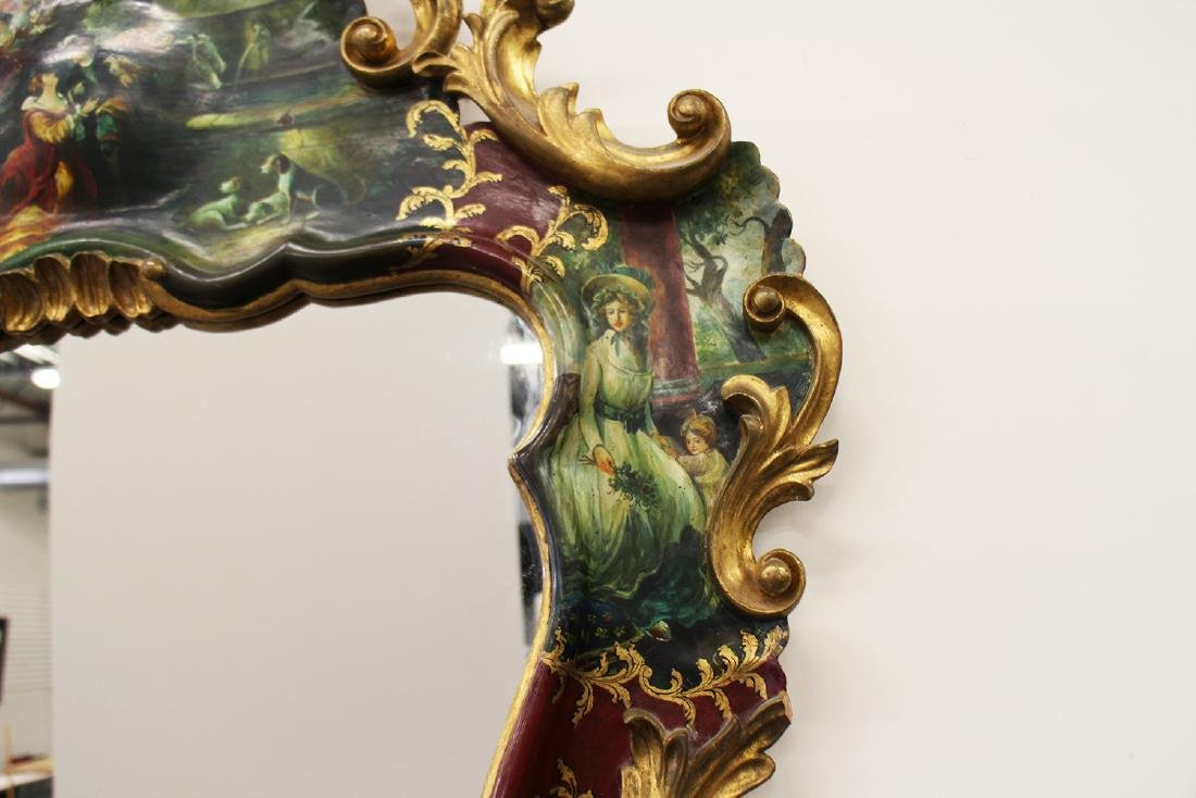 HAND PAINTED ROCOCO STYLE MIRROR - 6