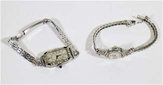 14K ART DECO DIAMOND SAPPHIRE  WITTNAUER WATCHES