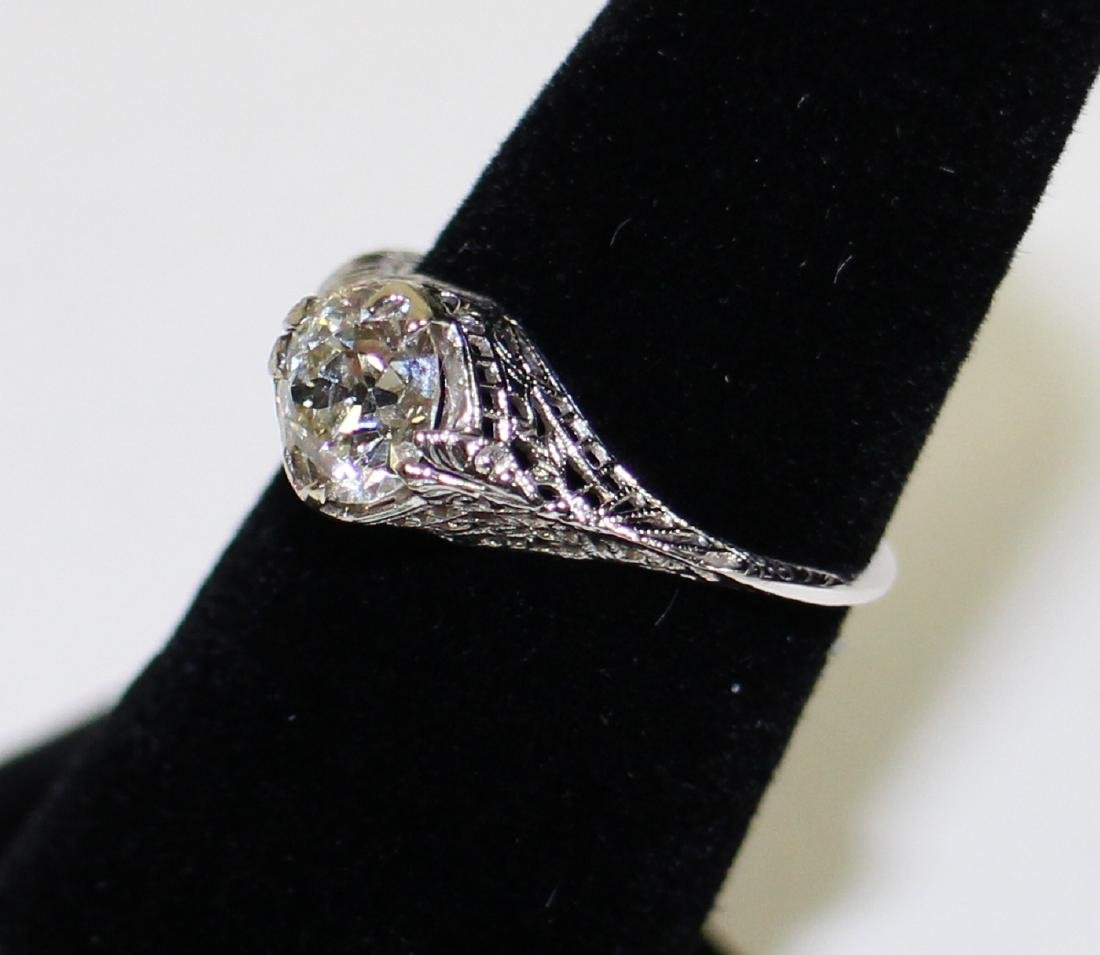 ART DECO 14KT 1.17 CARAT DIAMOND RING