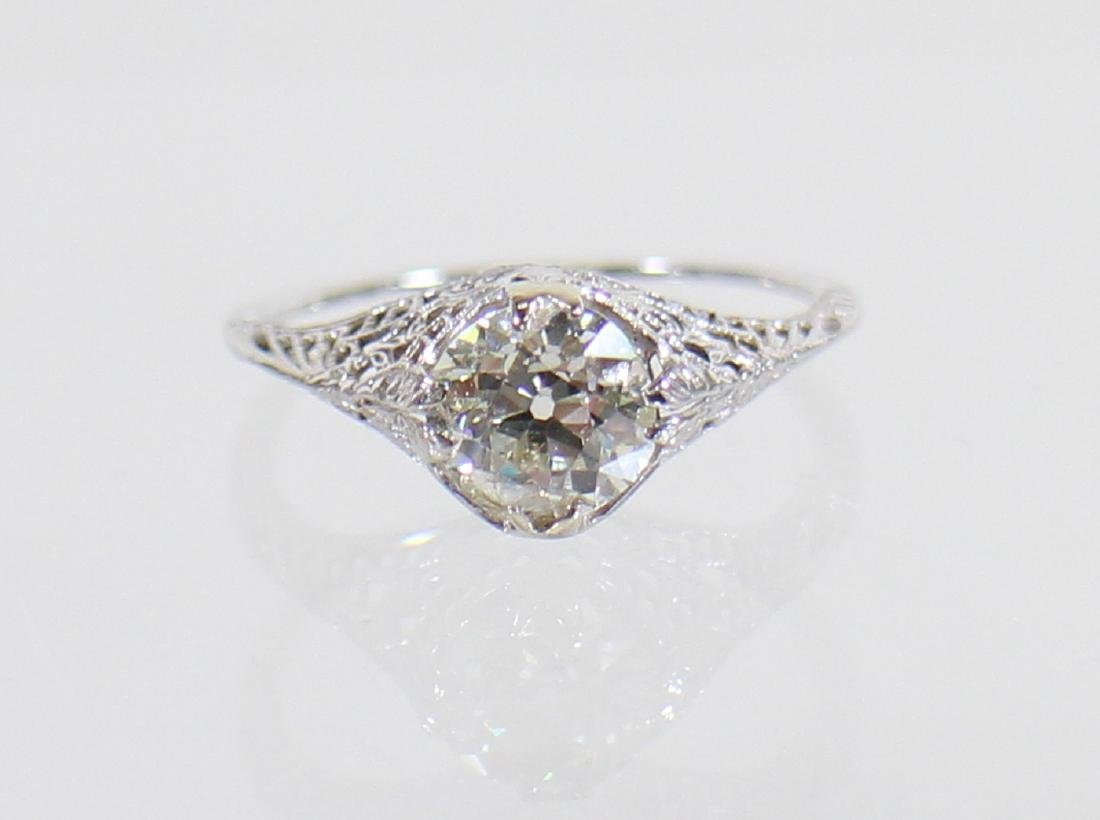 ART DECO 14KT 1.17 CARAT DIAMOND RING - 3