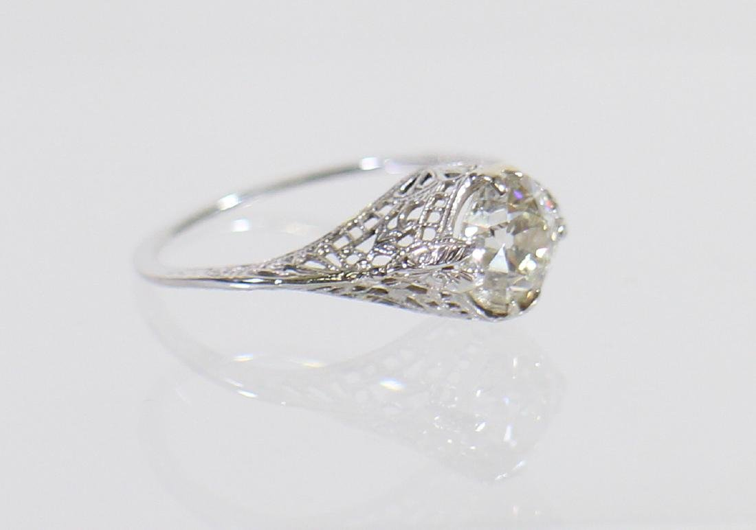 ART DECO 14KT 1.17 CARAT DIAMOND RING - 4
