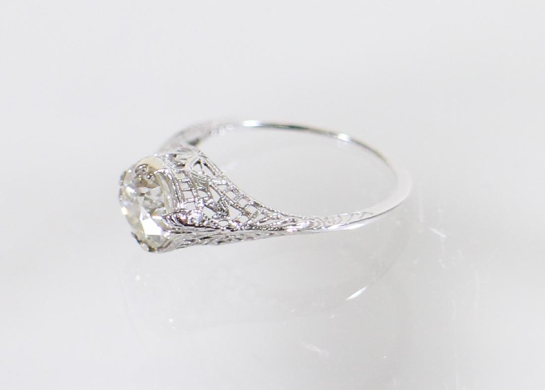ART DECO 14KT 1.17 CARAT DIAMOND RING - 5