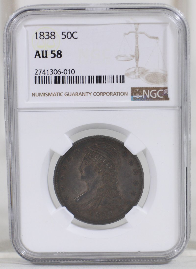 1838 50 CENT COIN NGC GRADED AU58