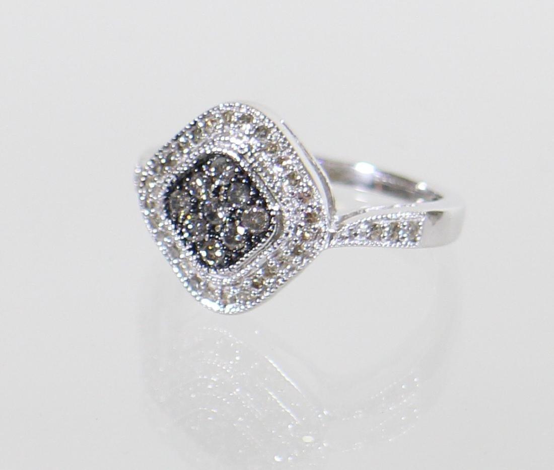 14KT CHOCOLATE & WHITE DIAMOND RING - 3