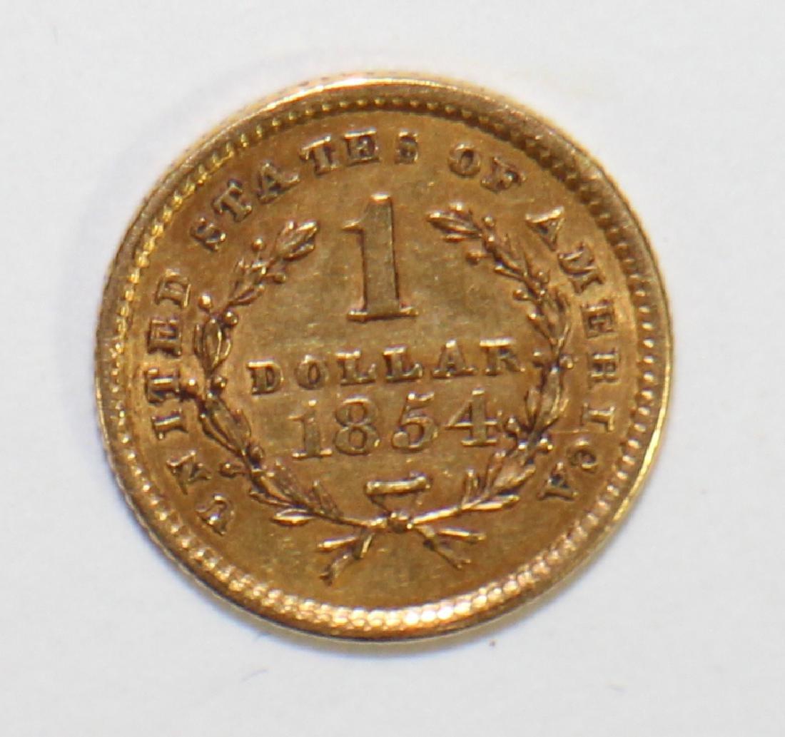 1854 $1 LIBERTY HEAD GOLD COIN - 2