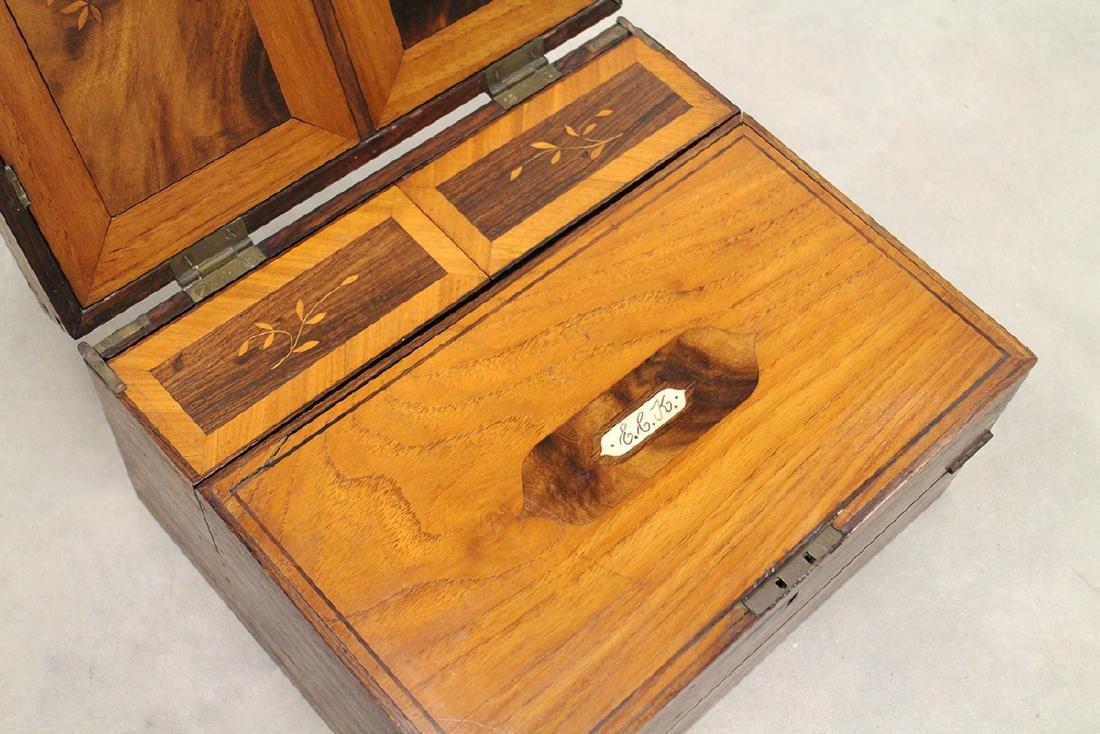 19th CENTURY INLAID WOOD LAP DESK - 2
