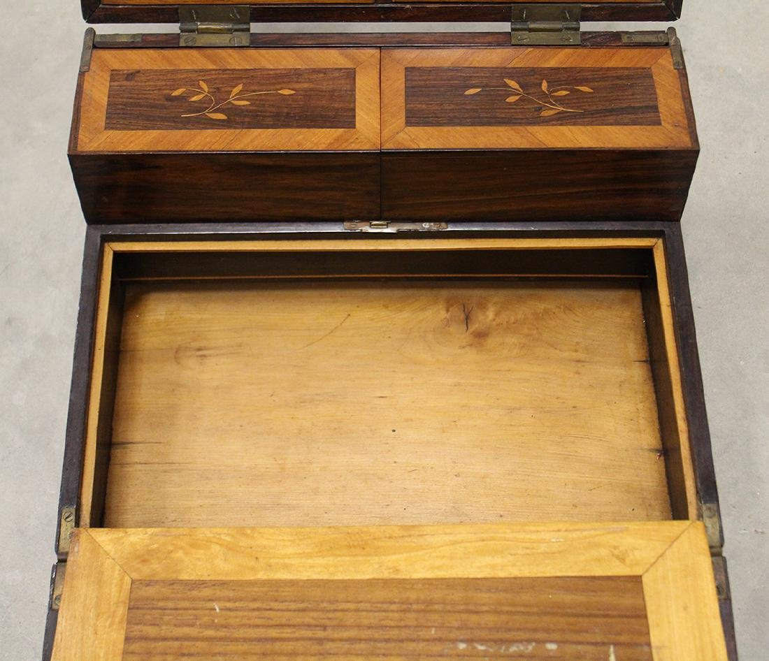 19th CENTURY INLAID WOOD LAP DESK - 5