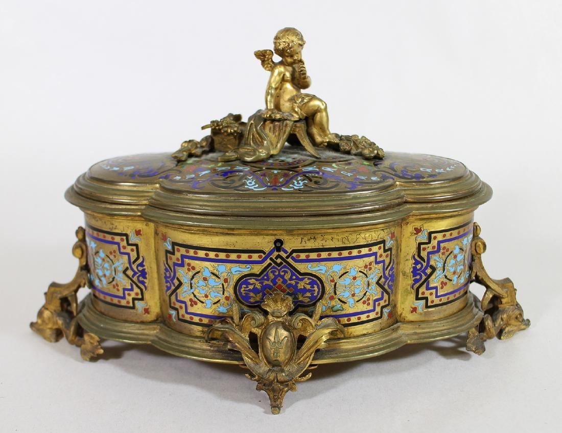 19TH CENTURY GILT ENAMEL JEWELRY BOX
