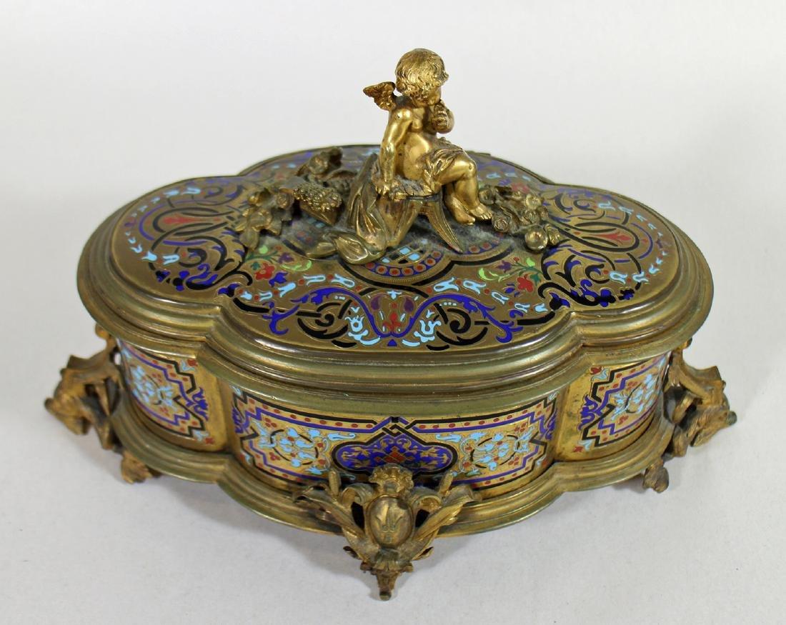 19TH CENTURY GILT ENAMEL JEWELRY BOX - 2