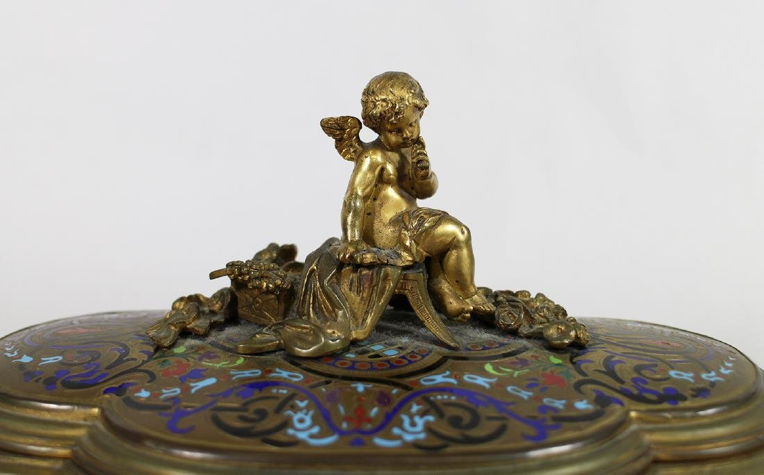 19TH CENTURY GILT ENAMEL JEWELRY BOX - 3