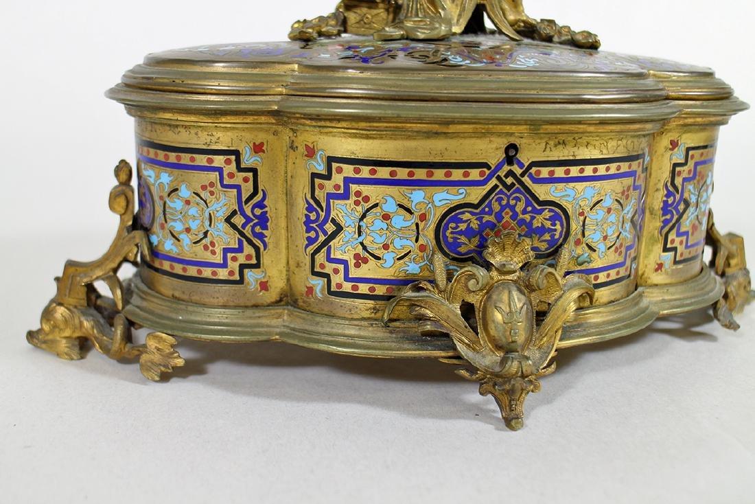 19TH CENTURY GILT ENAMEL JEWELRY BOX - 4