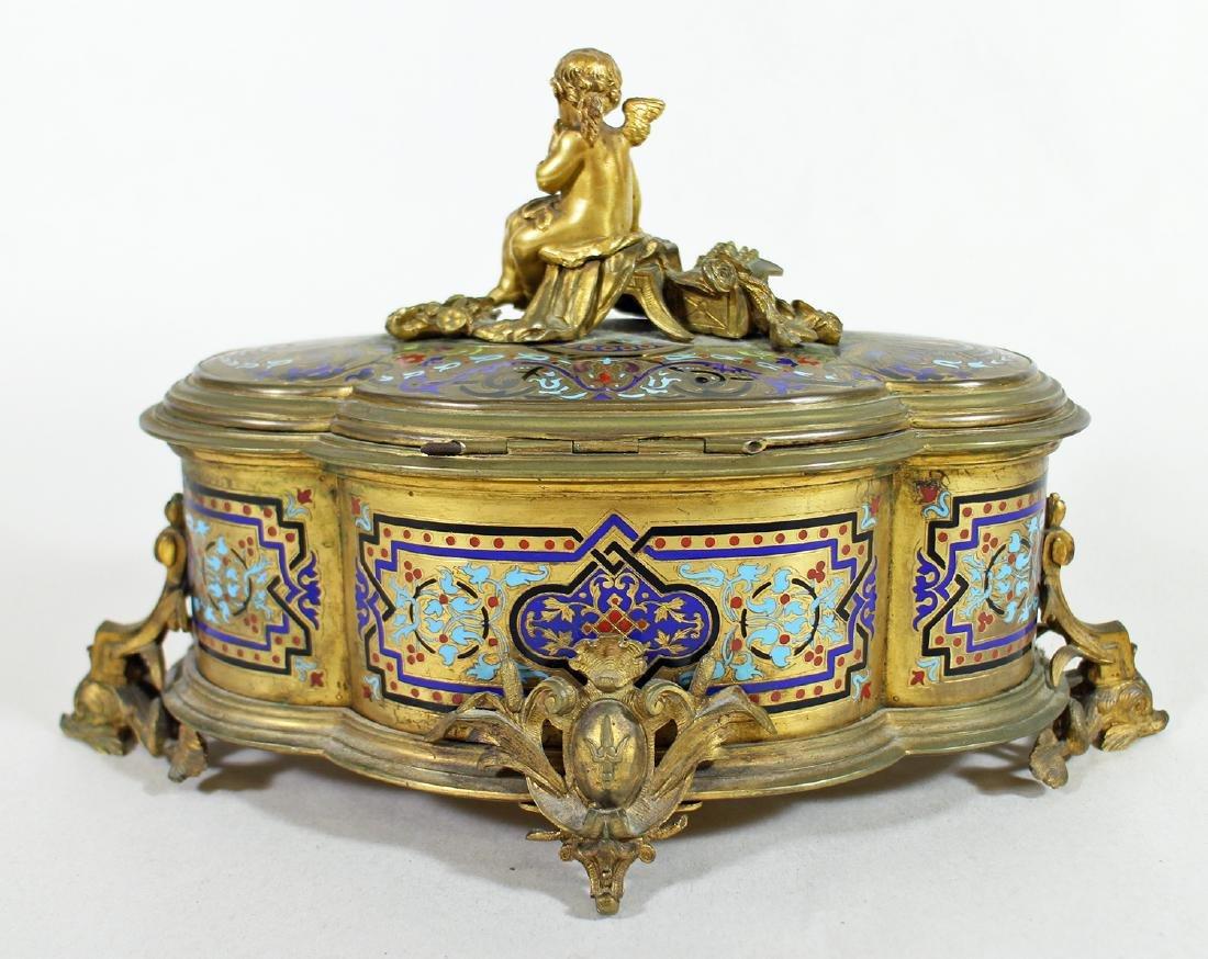 19TH CENTURY GILT ENAMEL JEWELRY BOX - 6