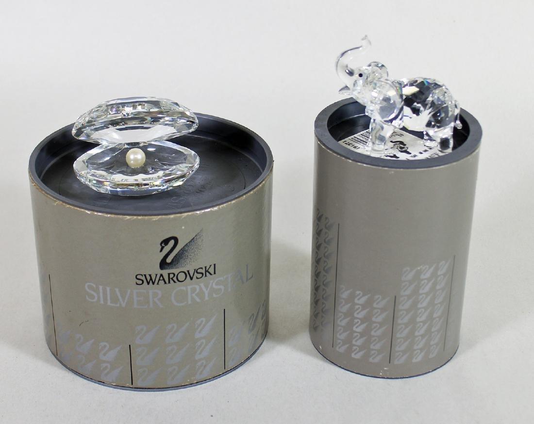 SWAROVSKI CRYSTAL ELEPHANT & CLAM W/ BOXES