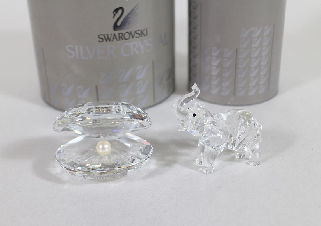 SWAROVSKI CRYSTAL ELEPHANT & CLAM W/ BOXES - 2