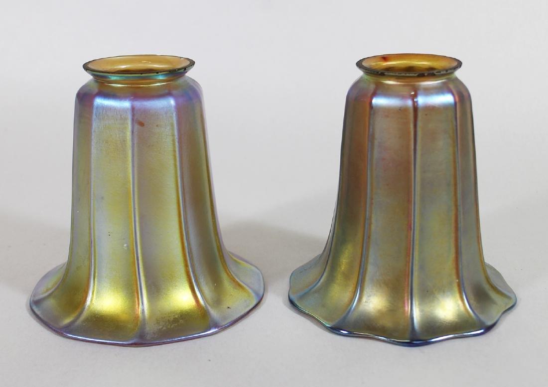 (2) ATTB. STEUBEN FAVRILE GLASS LAMP SHADES