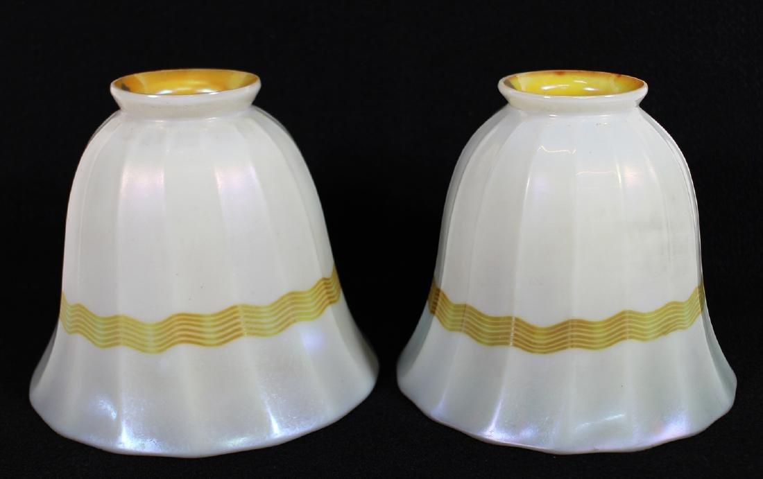 PAIR OF STEUBEN CALCITE & GOLD AURENE LAMP SHADES