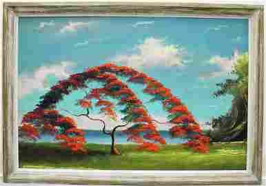 SAM NEWTON POINCIANA TREE HIGHWAYMEN PAINTING