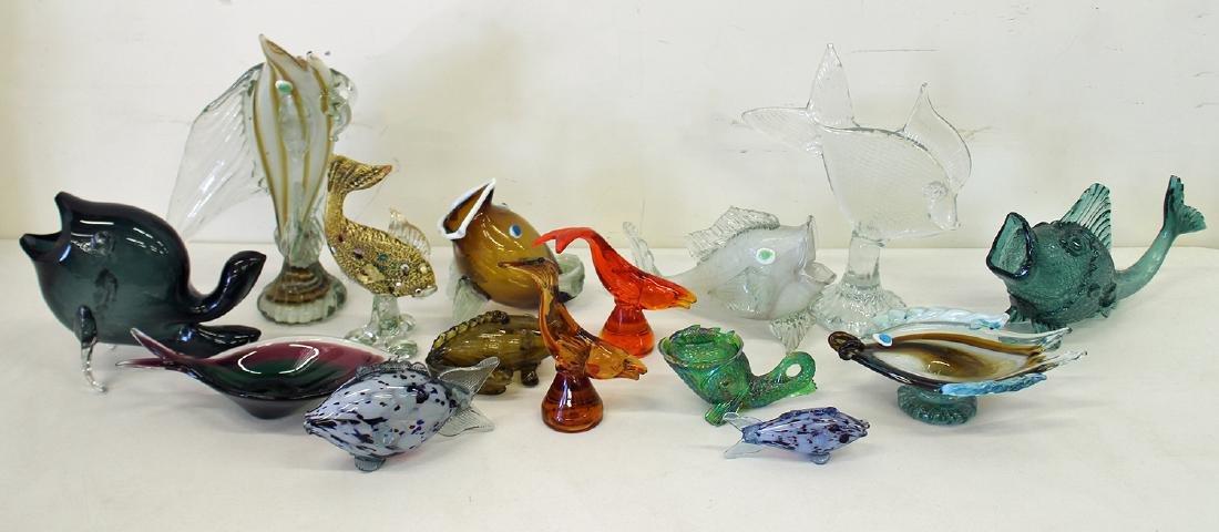 VINTAGE BLOWN ART GLASS FISH COLLECTION