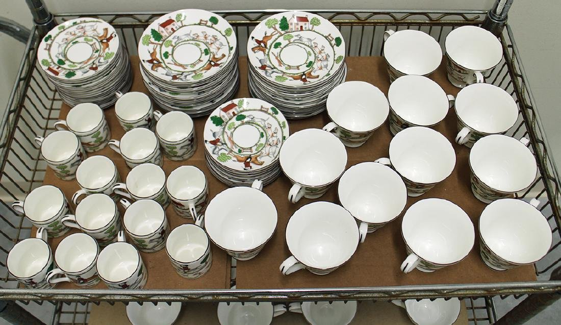 "87 PIECE SET OF WEDGWOOD ""HUNTING SCENES"" CHINA - 2"