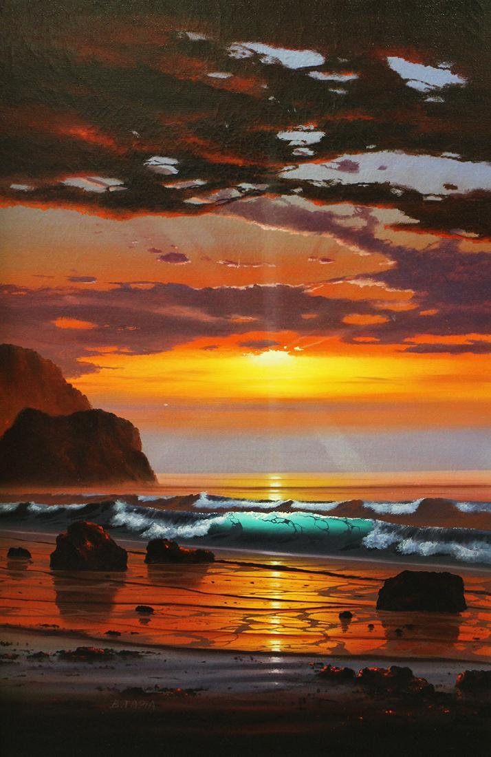 """BOB TAPIA """"A RED PACIFIC"""" PAINTING"""