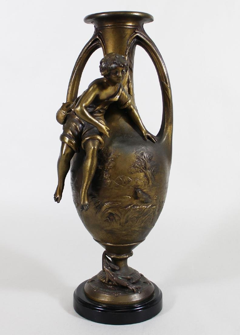 YOUNG FISHERMAN BRONZE URN - F. MOREAU