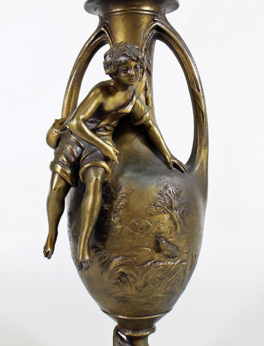 YOUNG FISHERMAN BRONZE URN - F. MOREAU - 2