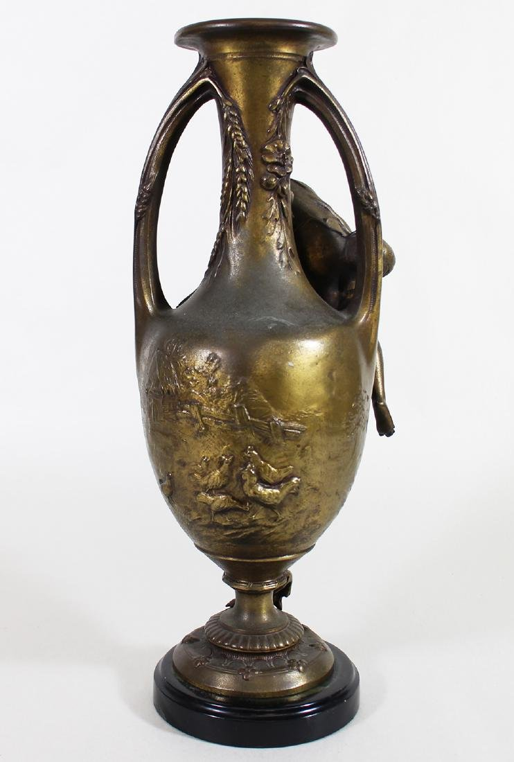 YOUNG FISHERMAN BRONZE URN - F. MOREAU - 3