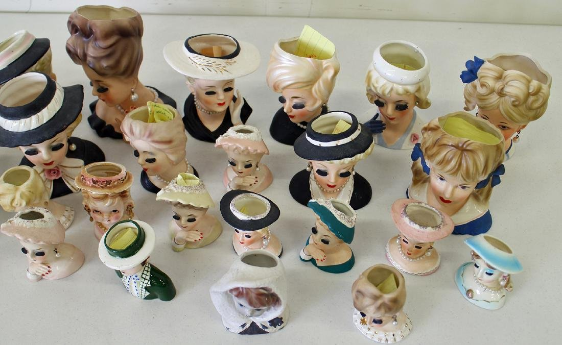 (30) ASSORTED NAPCO & INARCO LADY HEAD VASES - 3