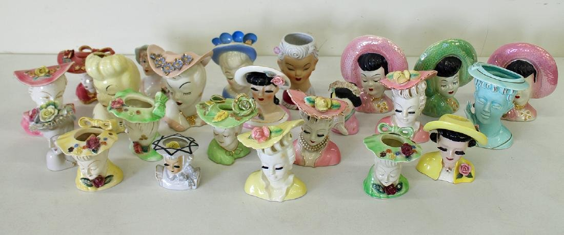 (23) EXOTIC LADY HEAD VASES